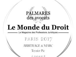 Teynier Pic doublement récompensé lors de la 5ème édition du Palmarès des Avocats